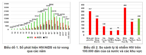 Situation of the number of people living with HIV in Vietnam
