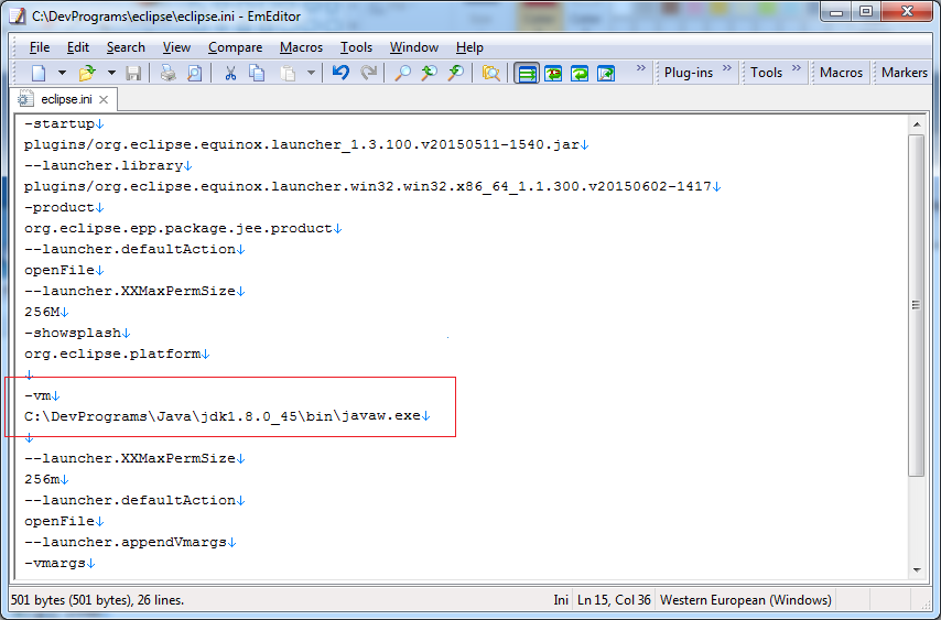Add the code as shown in the image to the file