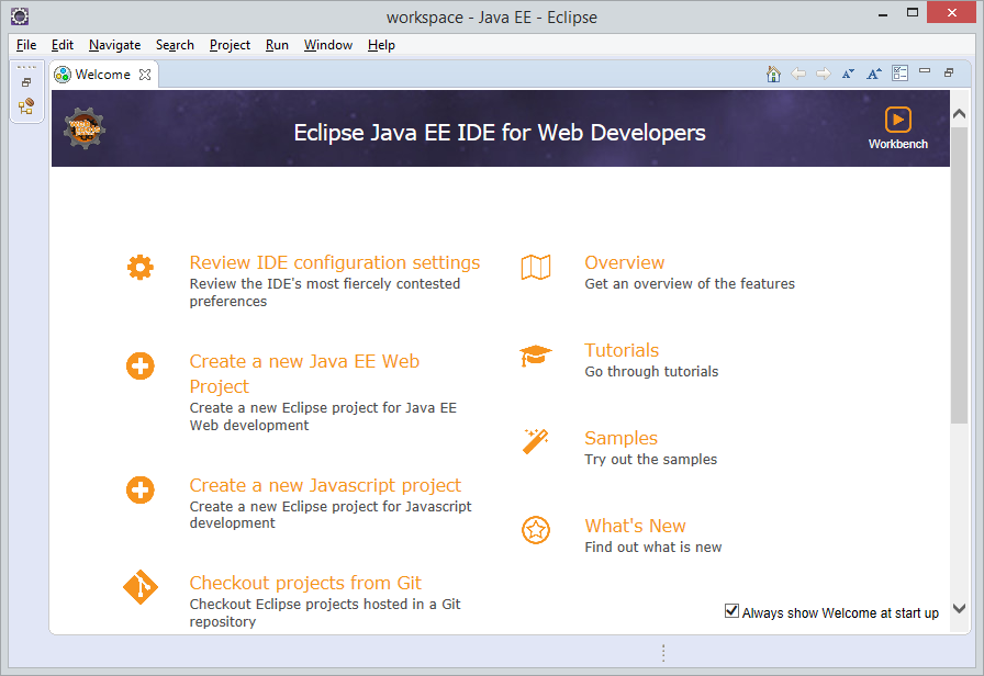 Interface of Eclipse IDE software