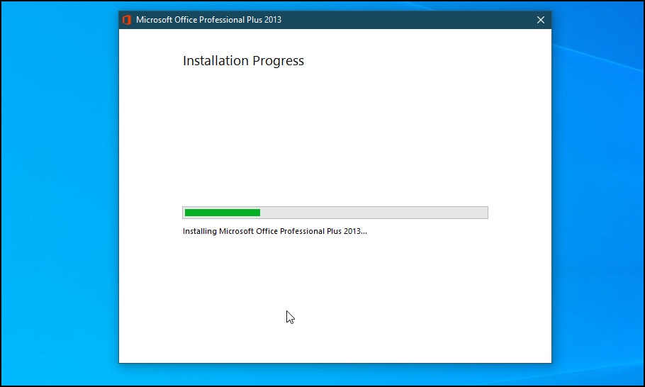 Wait for the installation process to complete.