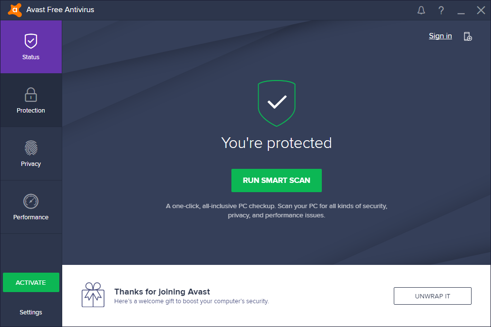 Avast Free Antivirus has been installed completely