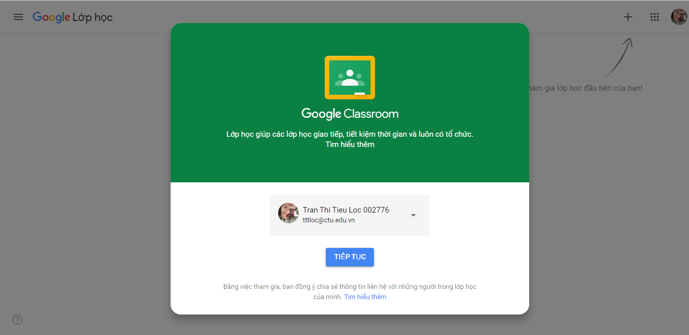 The interface of Google Classroom