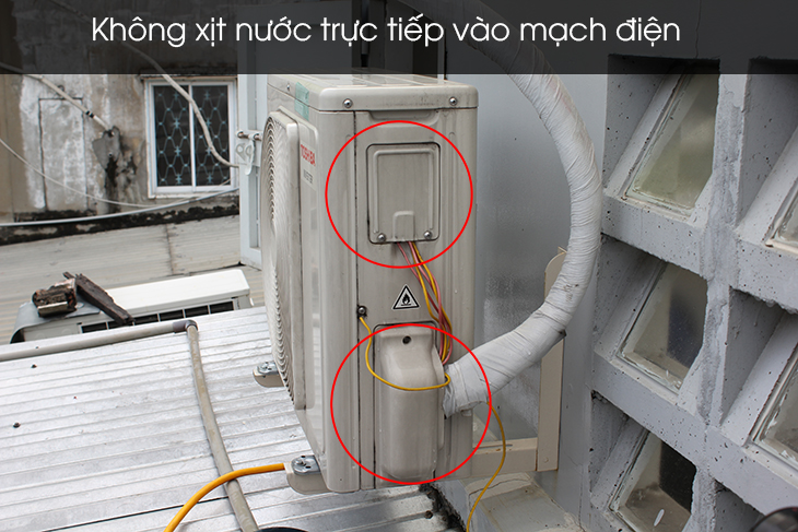 Do not spray in the area containing the circuit