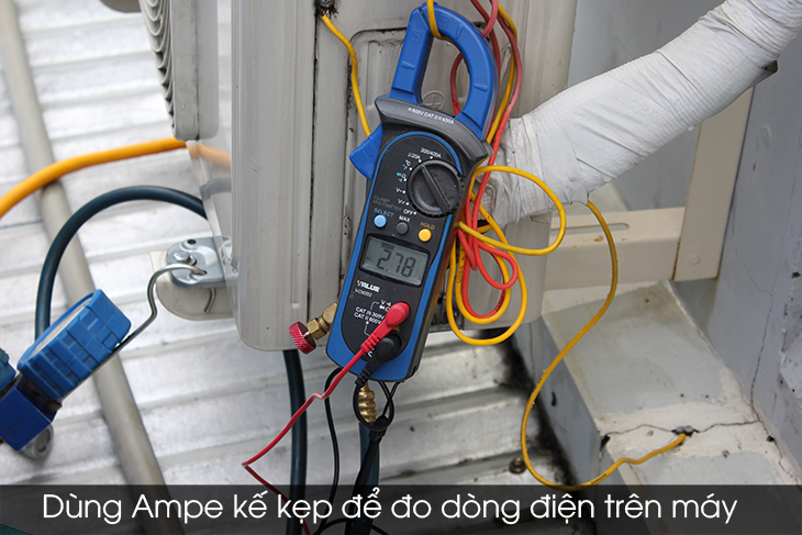 Use an ammeter to measure the current on the machine