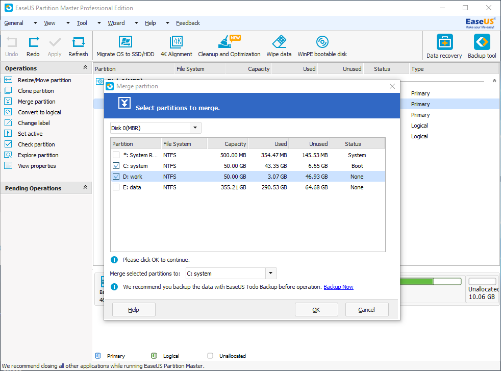 lossless drive partition EASEUS Partition Master
